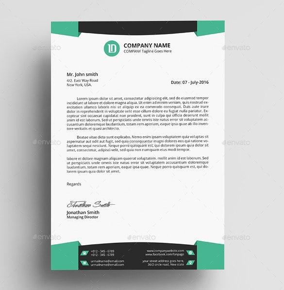 15 Professional Letterhead Templates Free Sample Example – Free Business Letterhead Templates for Word