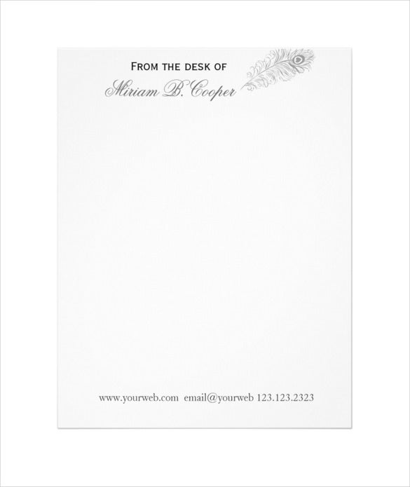 professional pen from the desk letterhead download