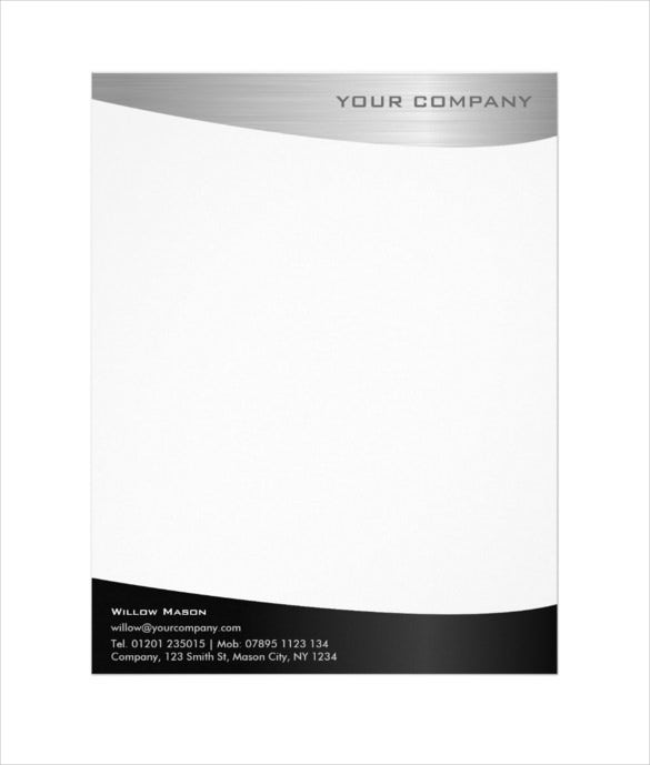 Editable Black Stainless Steel Professional Letterhead