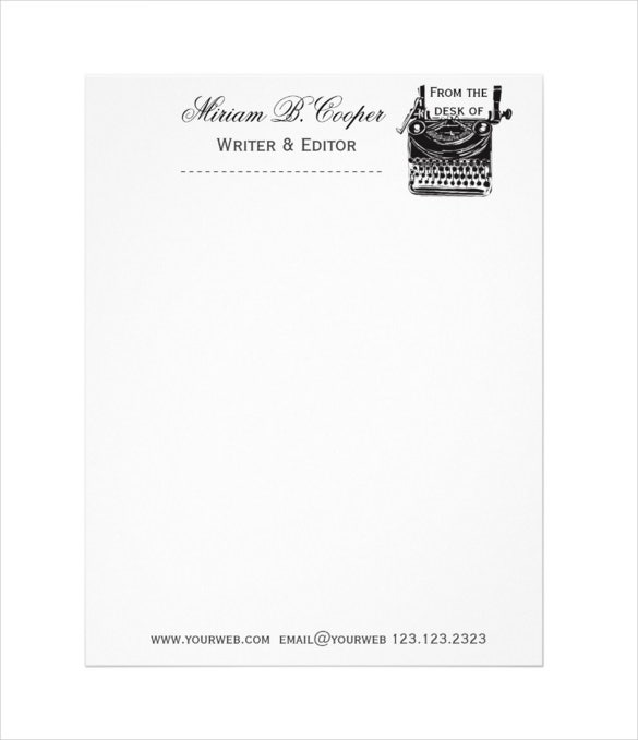 Template for Retro Vintage Typewriter Professional Letterhead