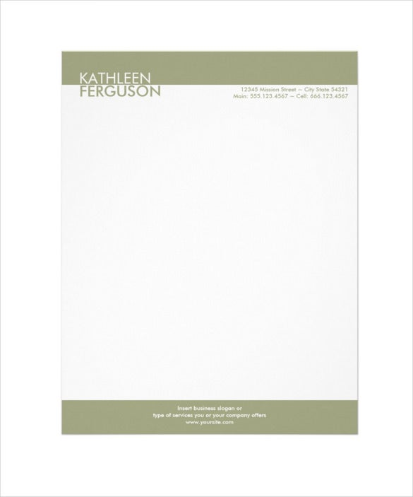 two tone green border professional business letterhead