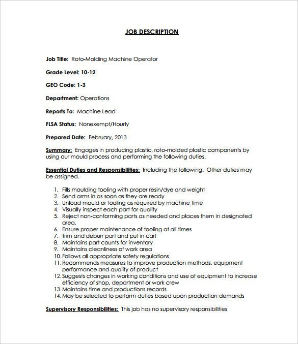 Machine Operator Job Description Templates   Free Sample