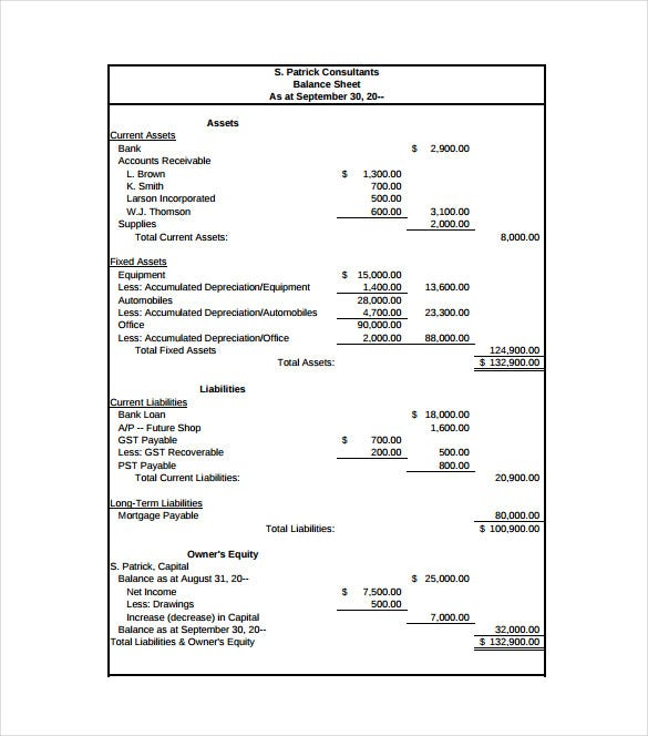 Balance Sheet Template 11 Free Word Excel PDF Documents – Free Balance Sheet Template