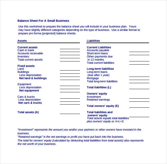 Balance Sheet For A Small Business Example PDF Free Download  Blank Balance Sheet Form