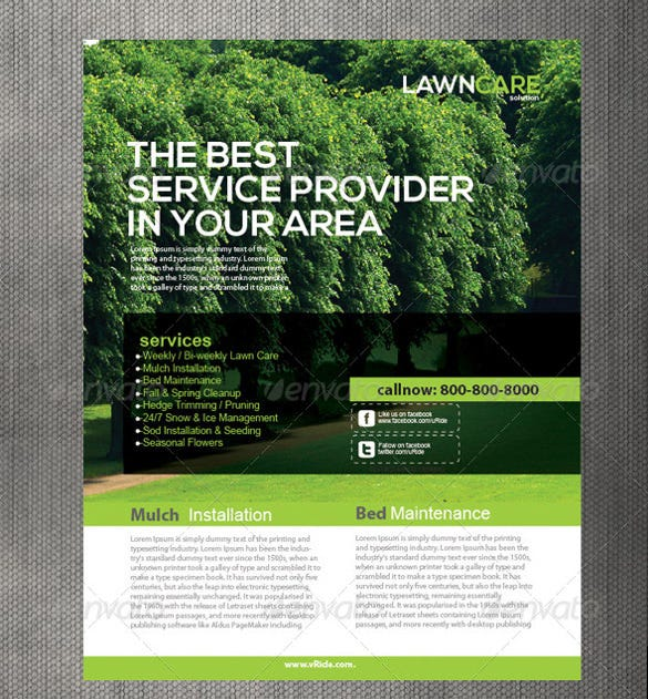Lawn care flyers 28 free psd ai vector eps format for Garden maintenance flyer template