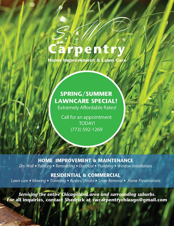easy to print lawn care flyer template