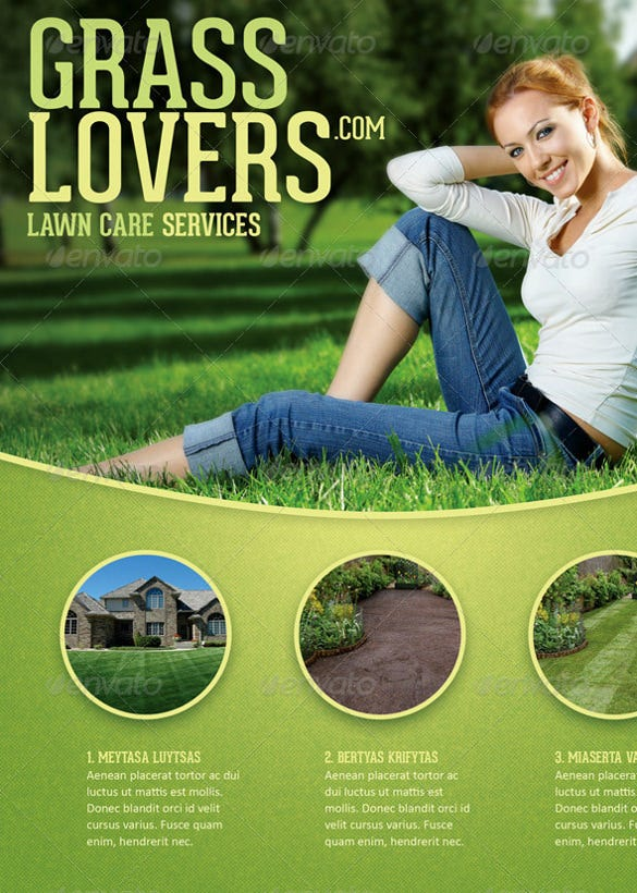 colorful lawn care flyer template
