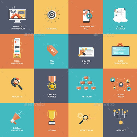 set of seo and marketing icons template download