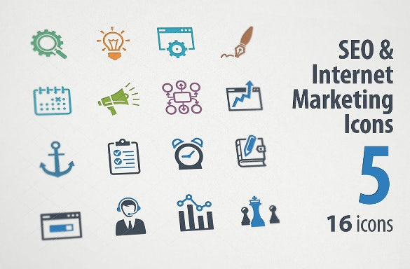 seo internet marketing icons template