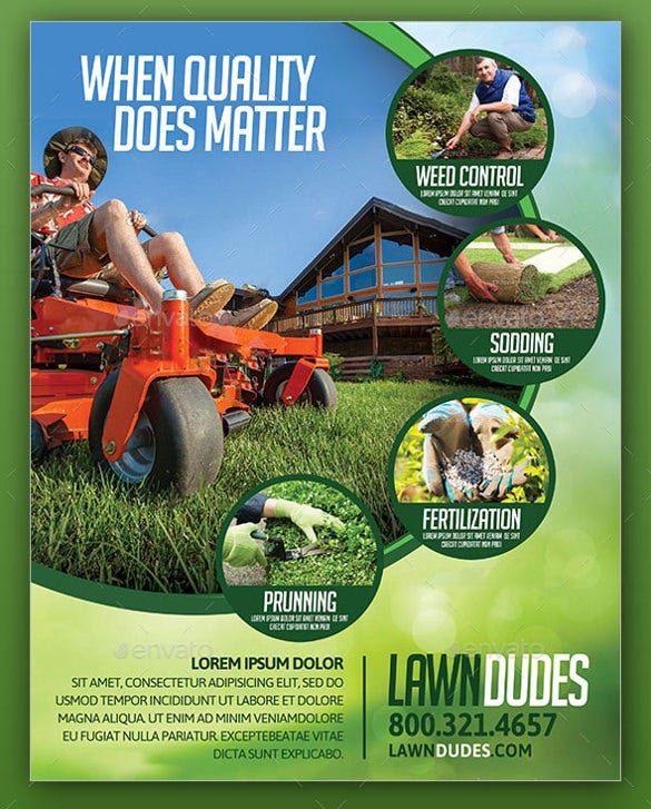 colorful background lawn care flyer template