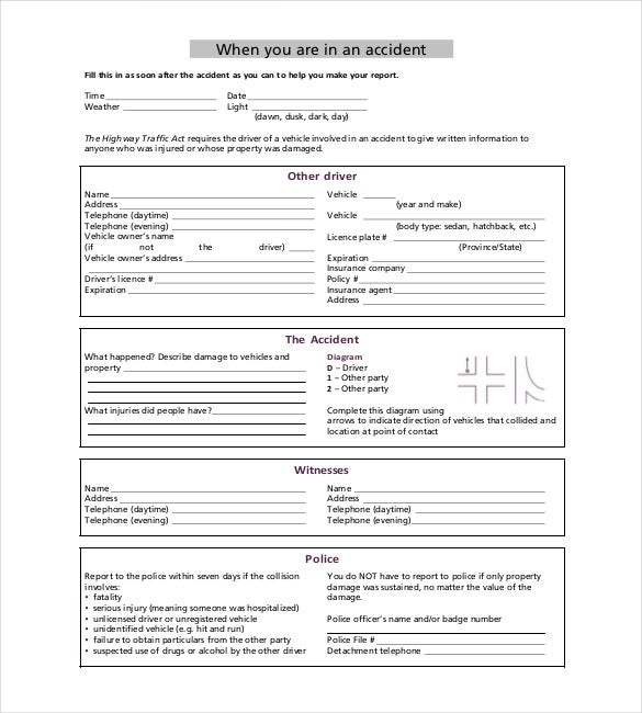 Accident Report Template  Free Sample Example Format Download