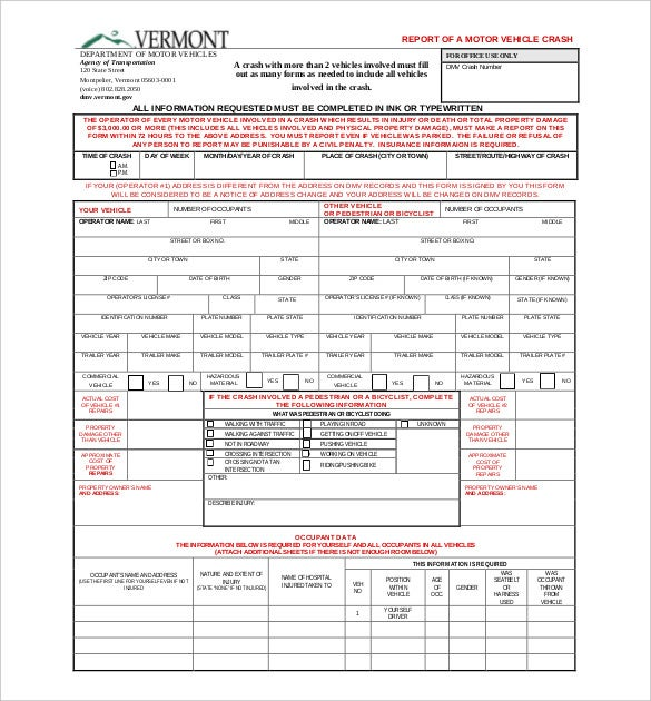 Accident Report Templates  Free Sample Example Format