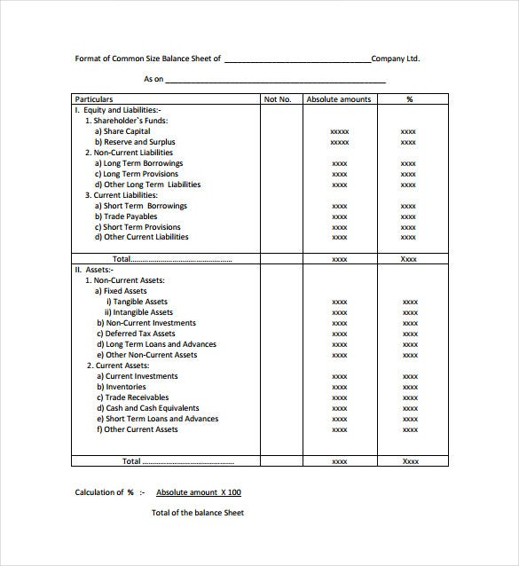 common size balance sheet pdf template free download