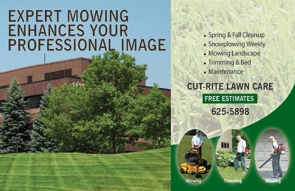 lawn care flyer template with contact details