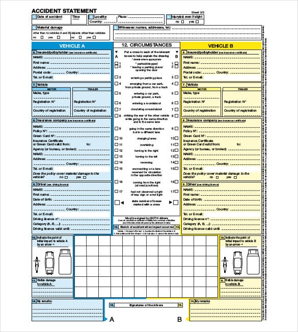 free accident report template sample download