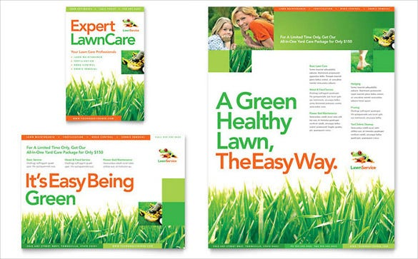 ready made design lawn care flyer template