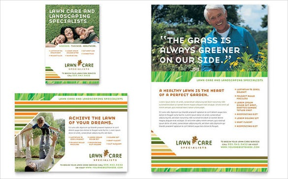thematic lawn care flyer template