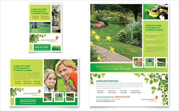green grass lawn care flyer template