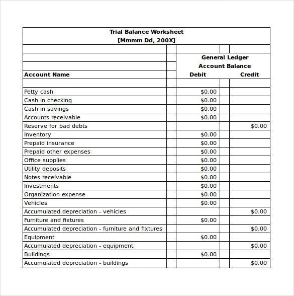 trial balance worksheet excel template free download