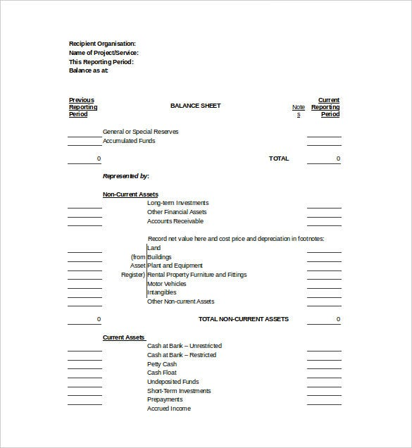 Balance Sheet Templates   Free Sample Example Format