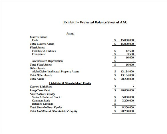 projected balance sheet free pdf template download