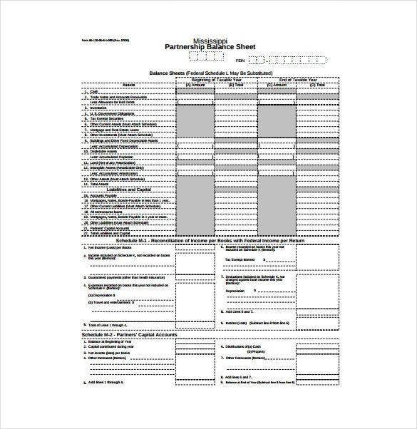Partnership Balance Sheet Sample PDF Free Download  Blank Balance Sheet Form