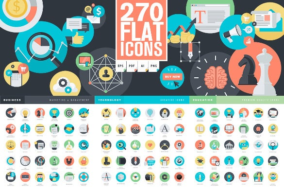 set of flat design marketing icon download