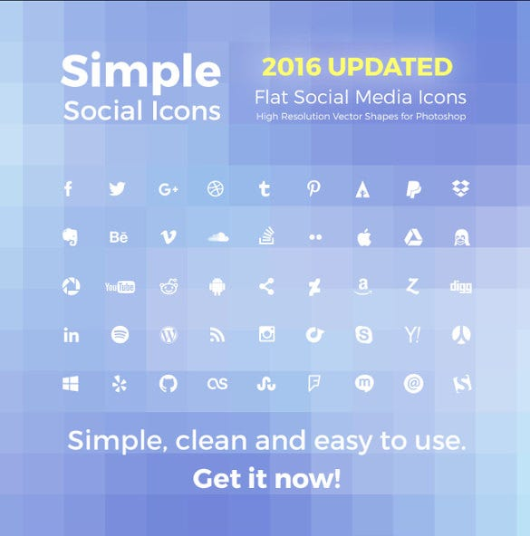 2016 simple social marketing icons download