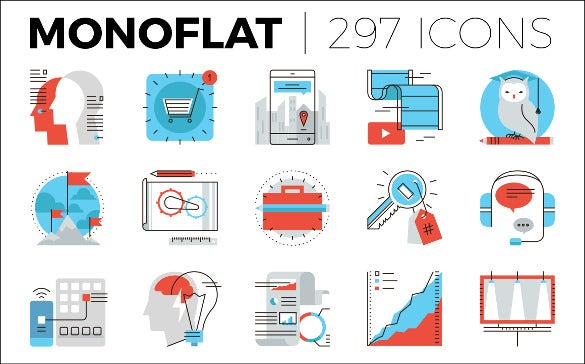 monoflat marketing icons collection