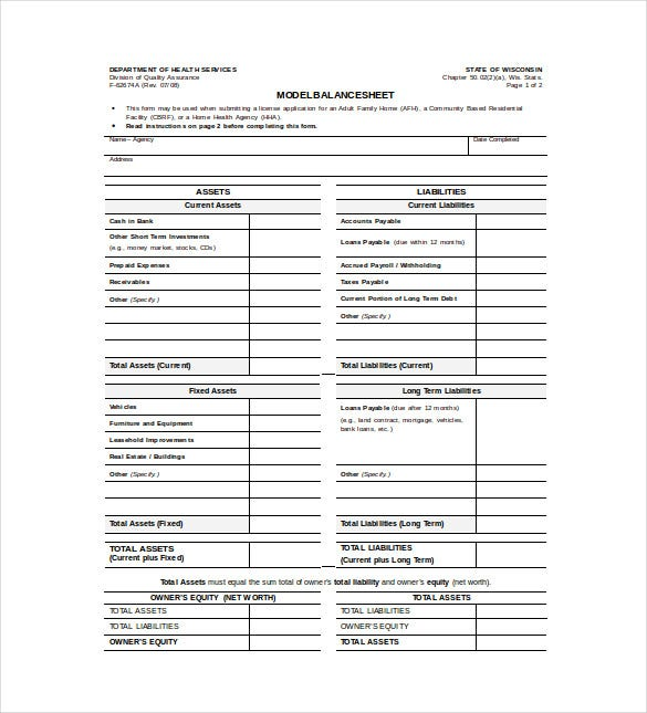 Balance Sheet Template 11 Free Word Excel PDF Documents – Blank Balance Sheet Form