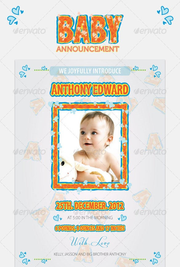 one click baby born announcement invitation tempalte