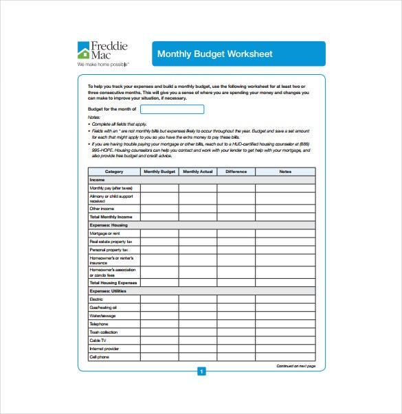 monthly budget worksheet pdf template free download