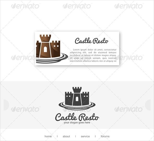 castle resto restaurant logo template