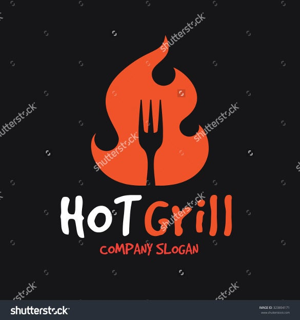 hot grill restaurant logo template