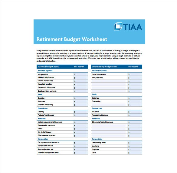 retirement budget worksheet free pdf template download
