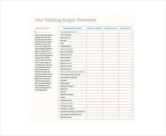 wedding budget worksheet free pdf template download