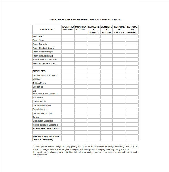 budget worksheet for college student word template free download