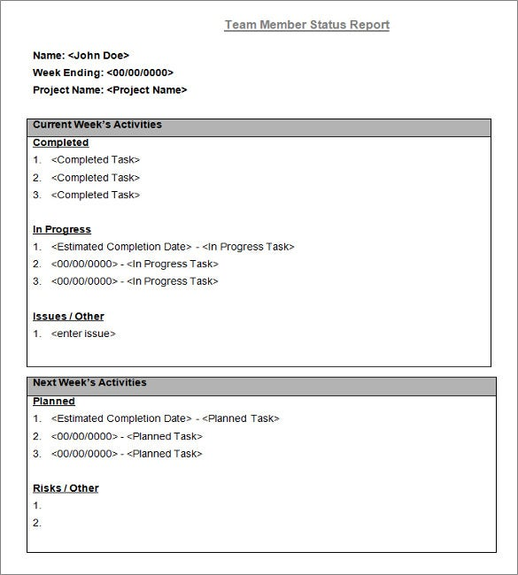 Status Report Template 27 Examples You Can Download FreeSample – Daily Report Template Word