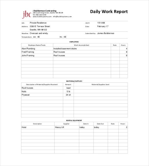 maintenance daily work report free