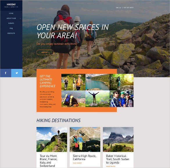 responsive hikeday parallax website template