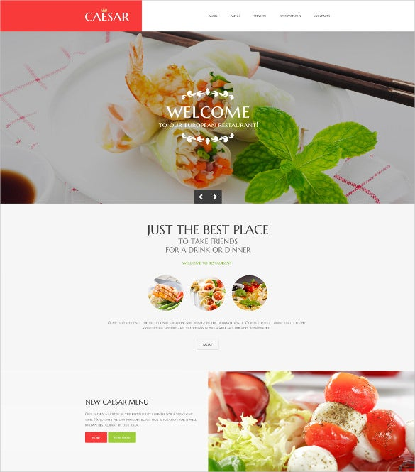 cafe restaurant responsive parallax website template