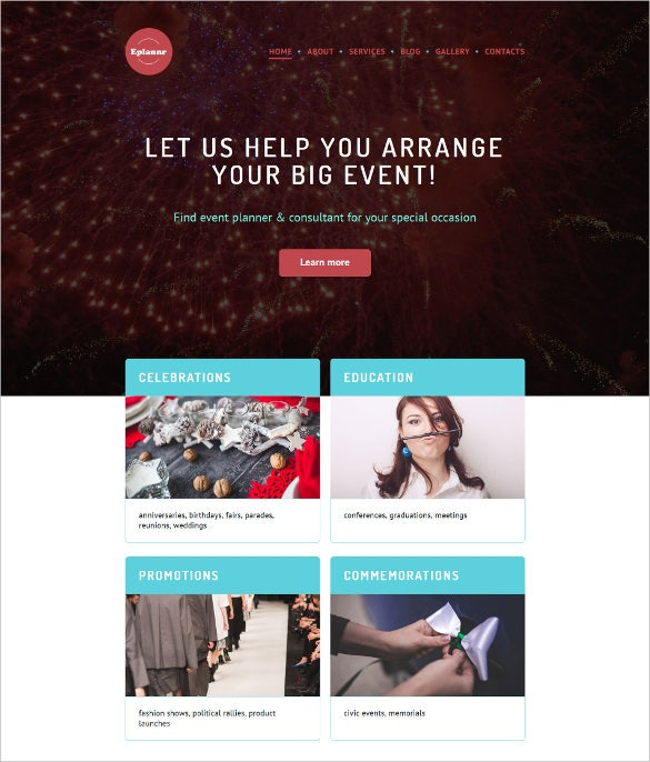 event planner responsive parallax wordpress theme