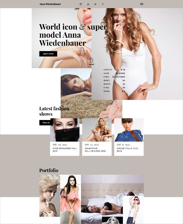 model portfolio prallax resaponsive website template