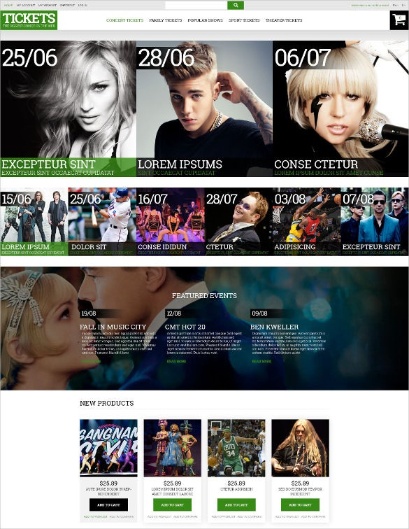 music ticket broker magento html5 theme