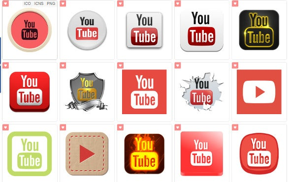 set of youtube icons