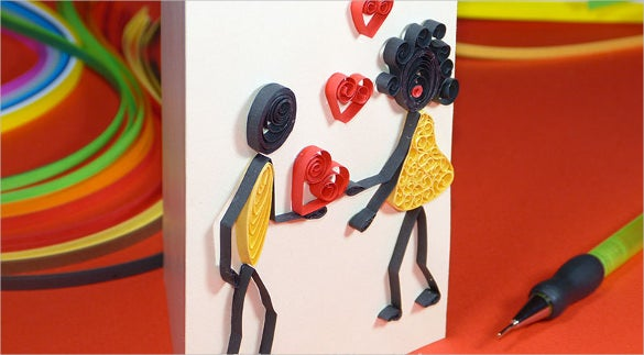 3d paper quiling love desing template