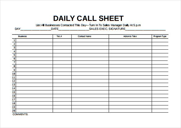 11 Call Sheet Templates Free Sample Example Format Download – Sample Spreadsheet Templates