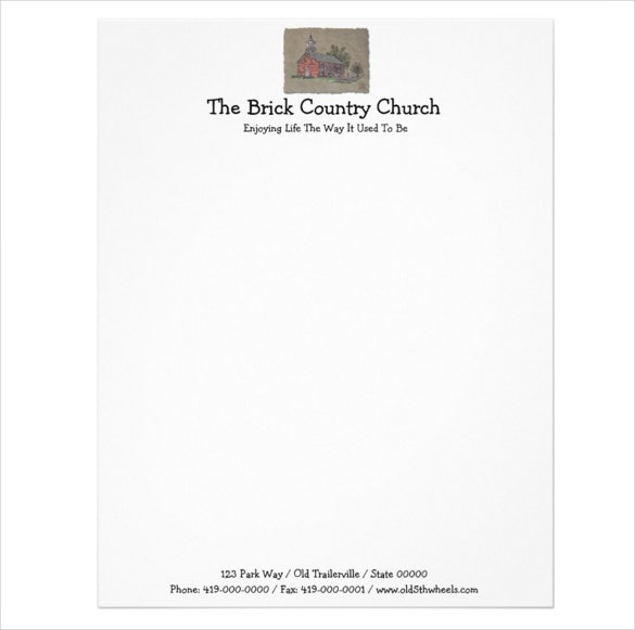 11 church letterhead templates free sample example format brick country church letterhead sample spiritdancerdesigns Choice Image
