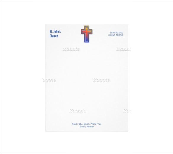 11 church letterhead templates free sample example format example color cross symbol christian church letterhead spiritdancerdesigns Choice Image