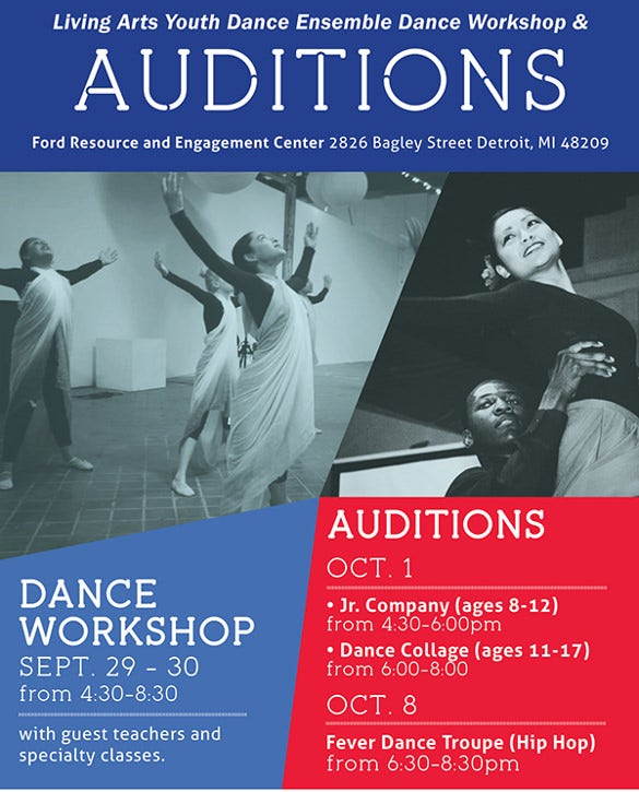 easily editable colored audition flyer template